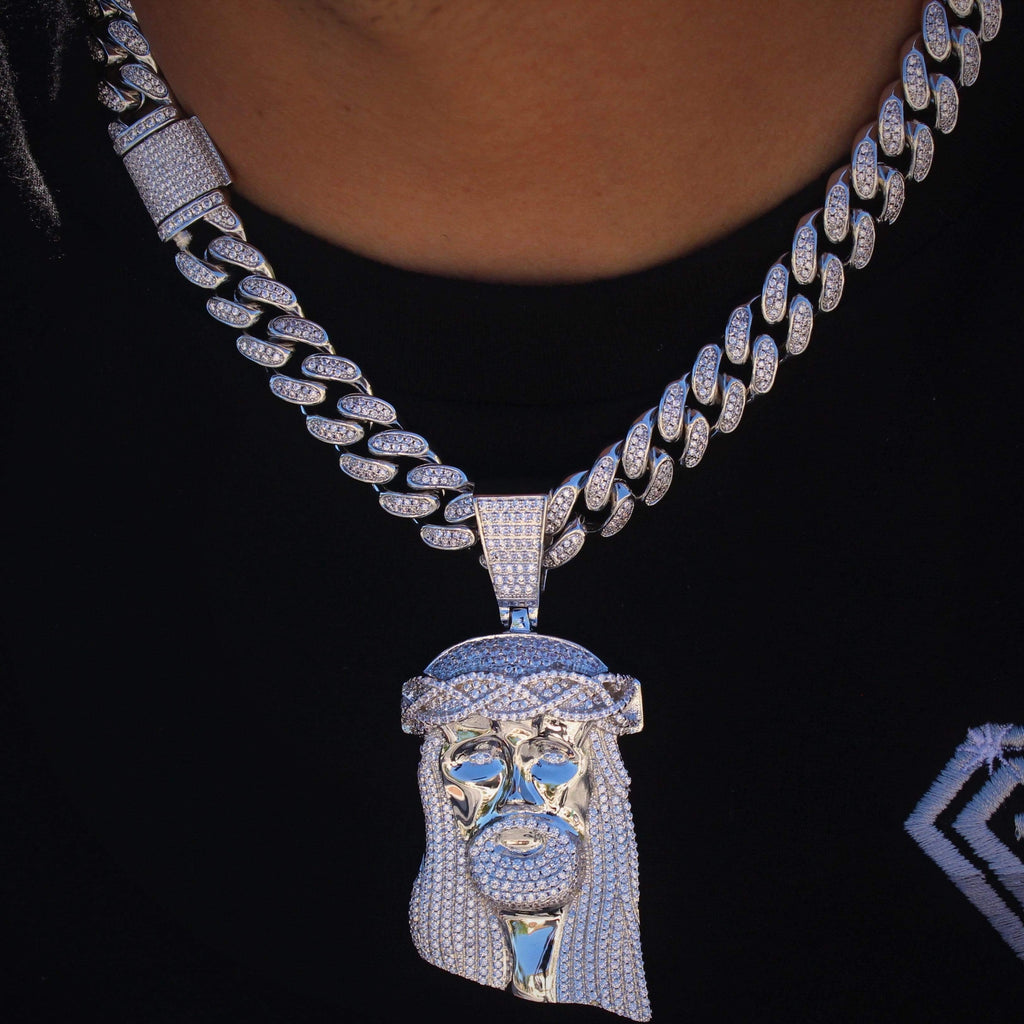 Cuban Link Cz Diamond Chain & Jesus Set GSG