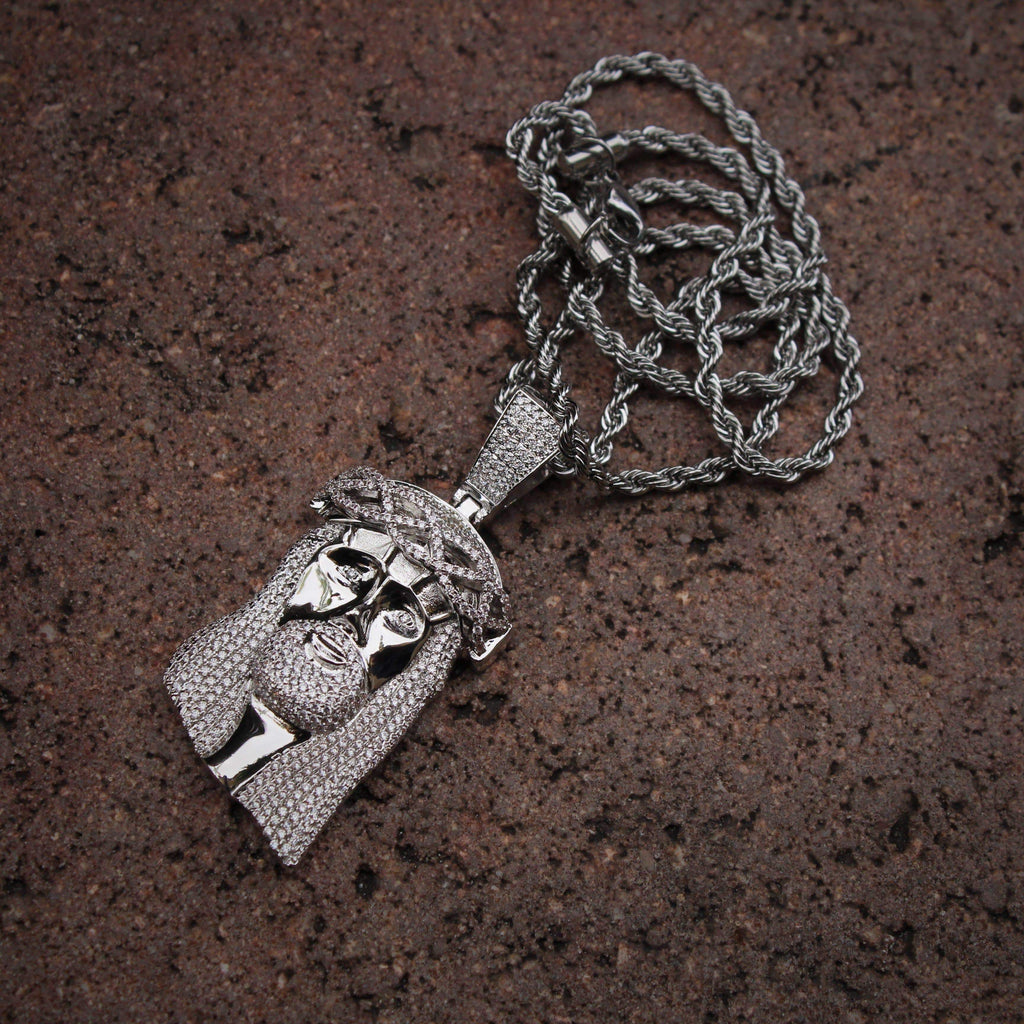 Jesus Face Small White Gold Necklace GSG