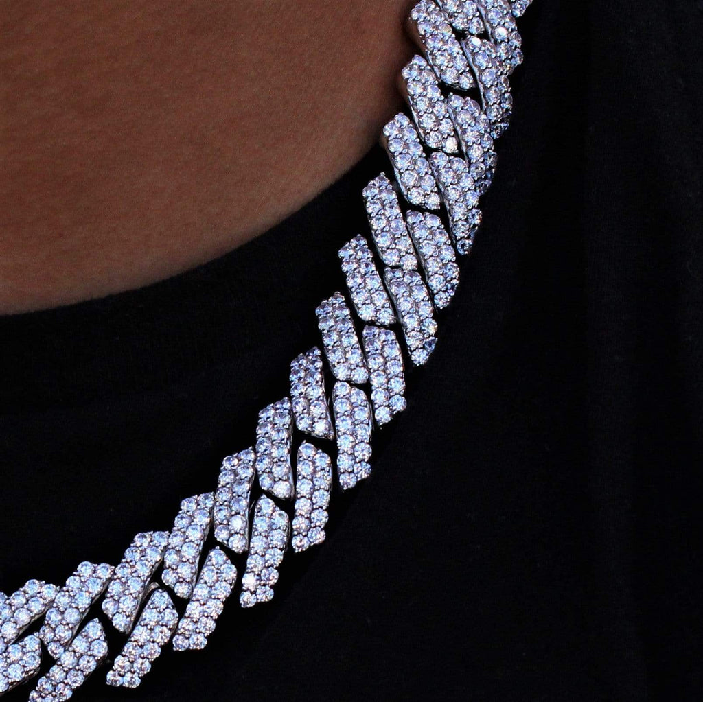 19mm Cuban Link Chain White Gold GSG