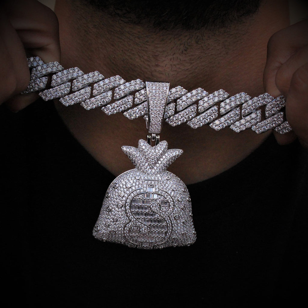 Money Bag & 19mm Cuban Link Chain Set White Gold GSG