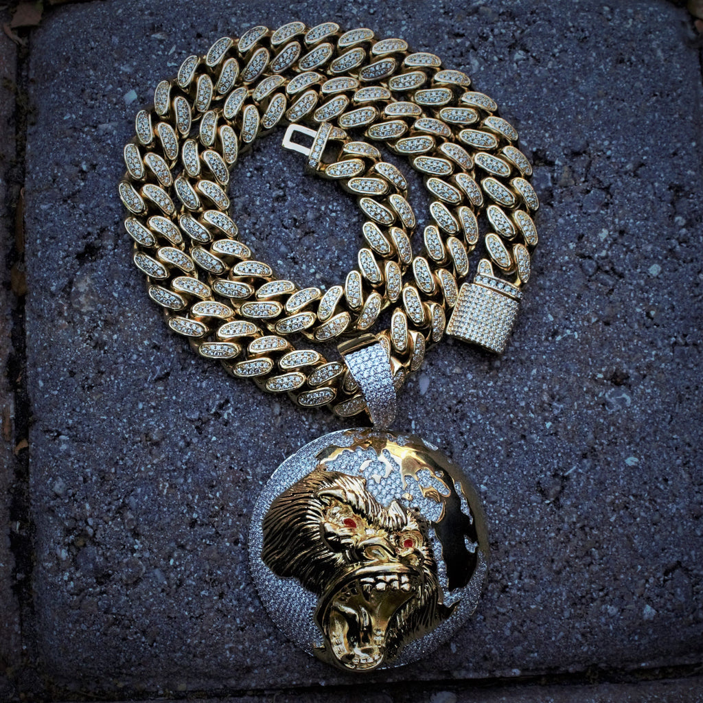 World Gorilla Face & Cuban Link Set GSG