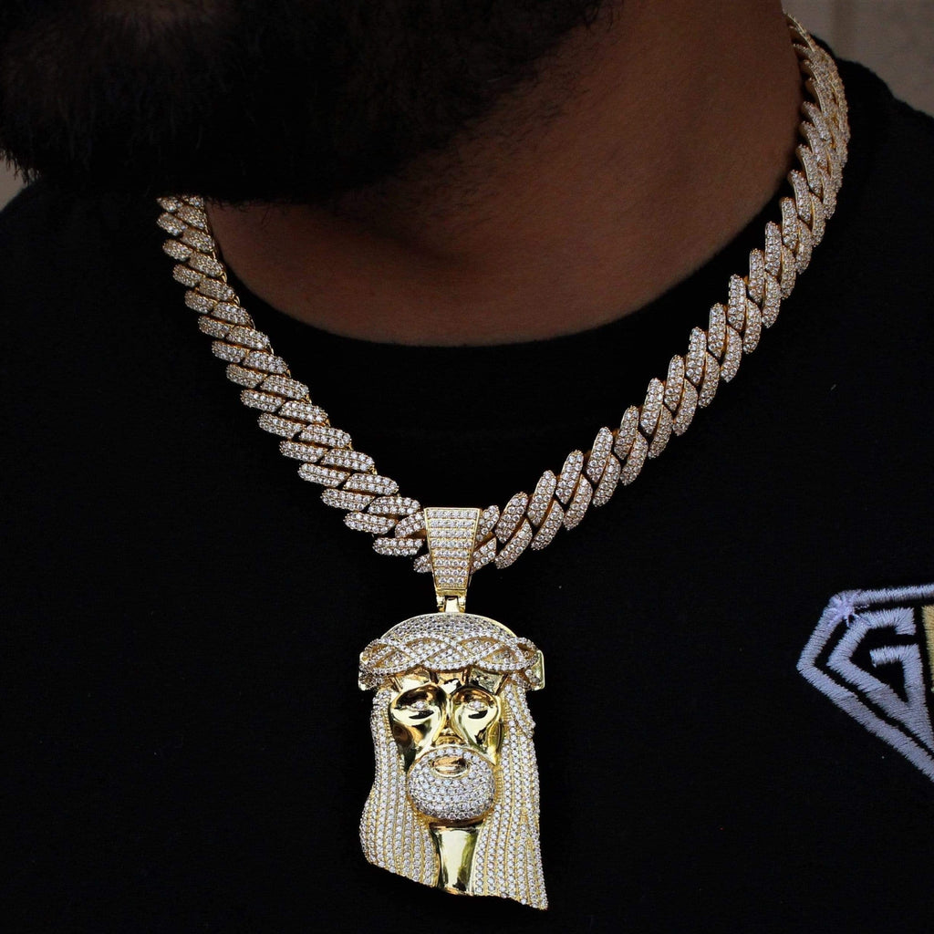 Jesus Face & Cuban Link Yellow Gold Set GSG