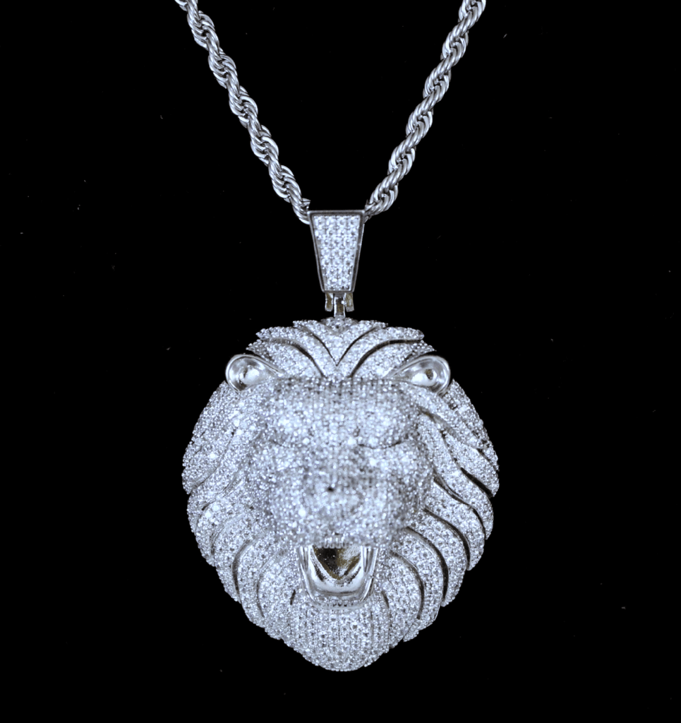 Lion Head Cz Diamond Pendant GSG+