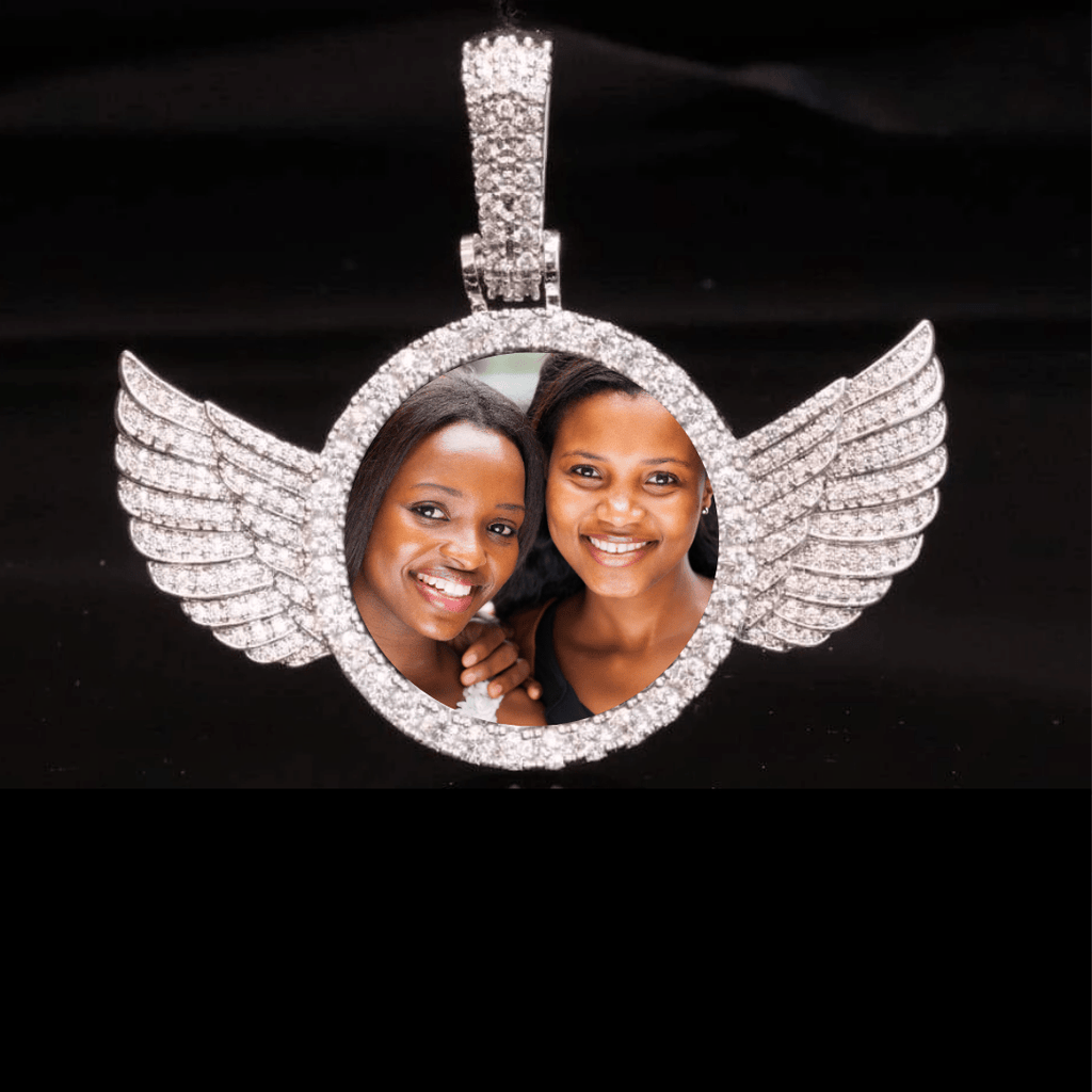 Custom Picture Necklace With Angel Wings