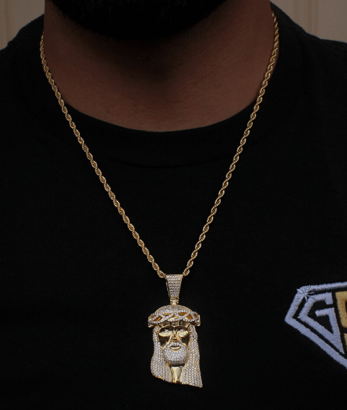 Jesus Face Small Necklace Yellow Gold GSG