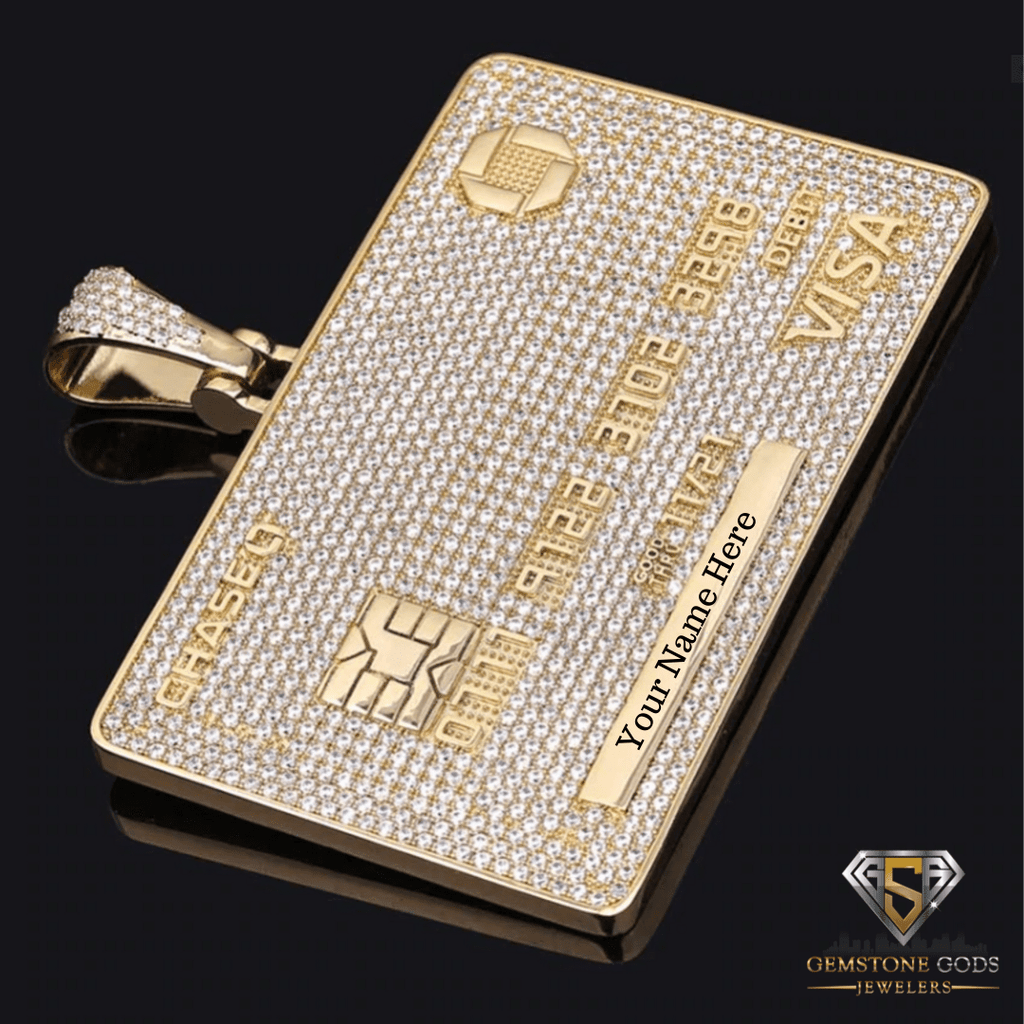 Custom Gold Platted Diamond Credit Card Necklace DSI