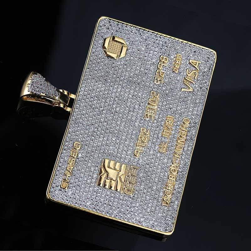 Gold Platted Diamond Credit Card Necklace DSI