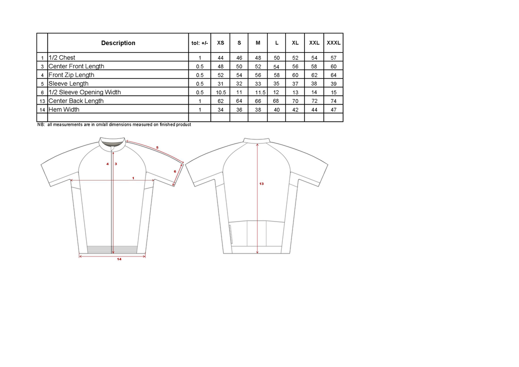Men Jersey Sizing