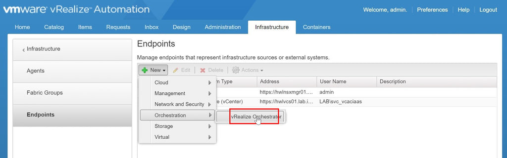 Click the vRealize Orchestrator menu option