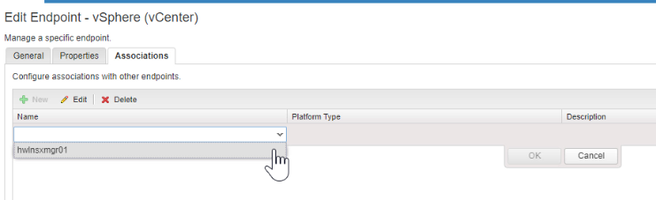 Select the NSX Endpoint