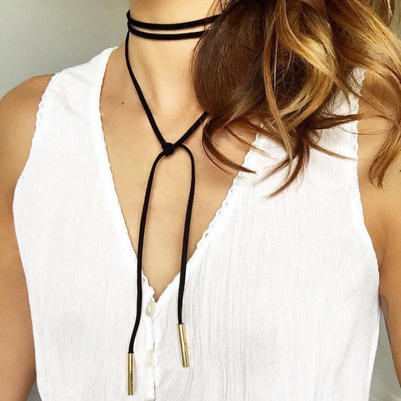 Long Leather Choker Necklace - TrendHold