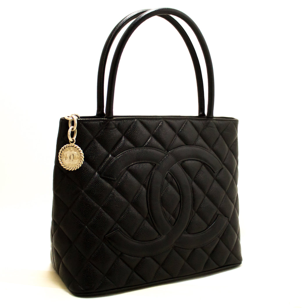 CHANEL Silver Medallion Caviar Shoulder Bag Shopping Tote Black R31-Chanel-hannari-shop