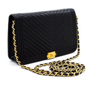 CHANEL Boy V-Stitch Caviar Wallet On Chain WOC Svart skulderveske t82-hannari-shop