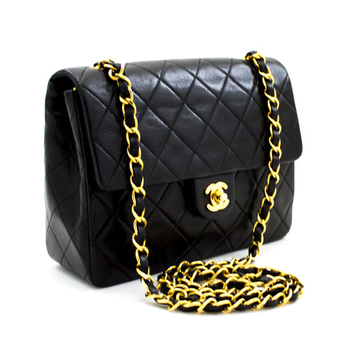 CHANEL Mini Square Small Chain Shoulder Bag Crossbody Black Quilt x62 hannari-shop