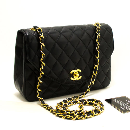 CHANEL Half Moon Chain Shoulder Bag Crossbody Black Quilted Flap Q49-Chanel-hannari-shop