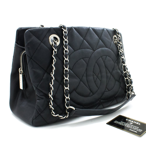 CHANEL Caviar Chain Shoulder Bag Black Quilted Leather Silver Zip s41