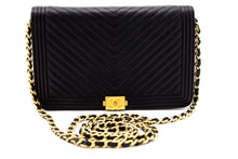 CHANEL Boy V-Stitch Caviar Wallet On Chain WOC Black Shoulder Bag t82-hannari-shop