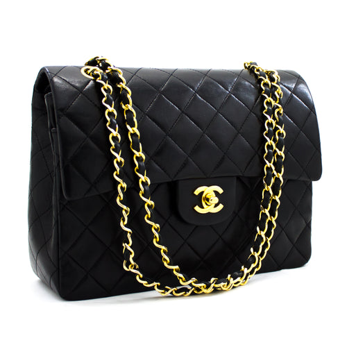 CHANEL 2.55 Double Flap Square Classic Chain Shoulder Bag Black y42 hannari-shop