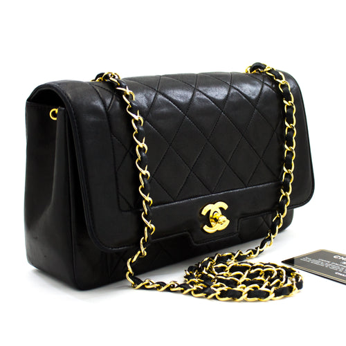 CHANEL Single Flap Chain Shoulder Bag Crossbody Black Quilted u54 hannari-shop
