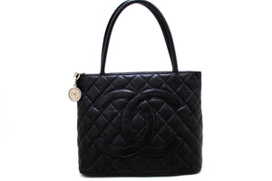 CHANEL Silver Medallion Caviar Shoulder Bag Shopping Tote Black Q70-Chanel-hannari-shop