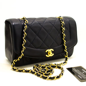 CHANEL Diana Flap Chain Shoulder Bag Crossbody Navy Quilted Lamb Q05