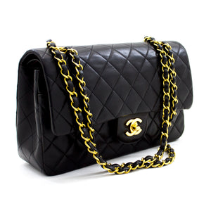 "CHANEL 2.55 Double Flap 10"" Chain Shoulder Bag Black Quilted Lamb x64 hannari-shop"