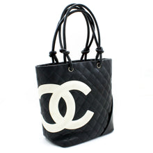 CHANEL Cambon Tote Small Shoulder Bag Black White Quilted Calfskin s52
