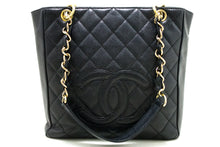 CHANEL Caviar PST Chain Shoulder Bag Shopping Tote Black Quilted Q34