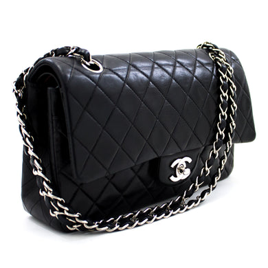 CHANEL 2.55 Double Flap Silver Chain Shoulder Bag Black Lambskin u60 hannari-shop