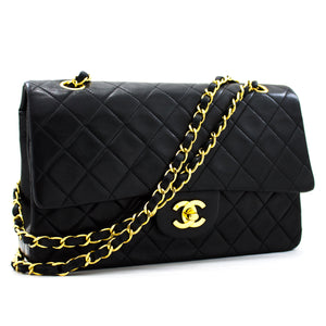 "CHANEL 2.55 Double Flap 10"" Chain Shoulder Bag Black Lambskin y35 hannari-shop"