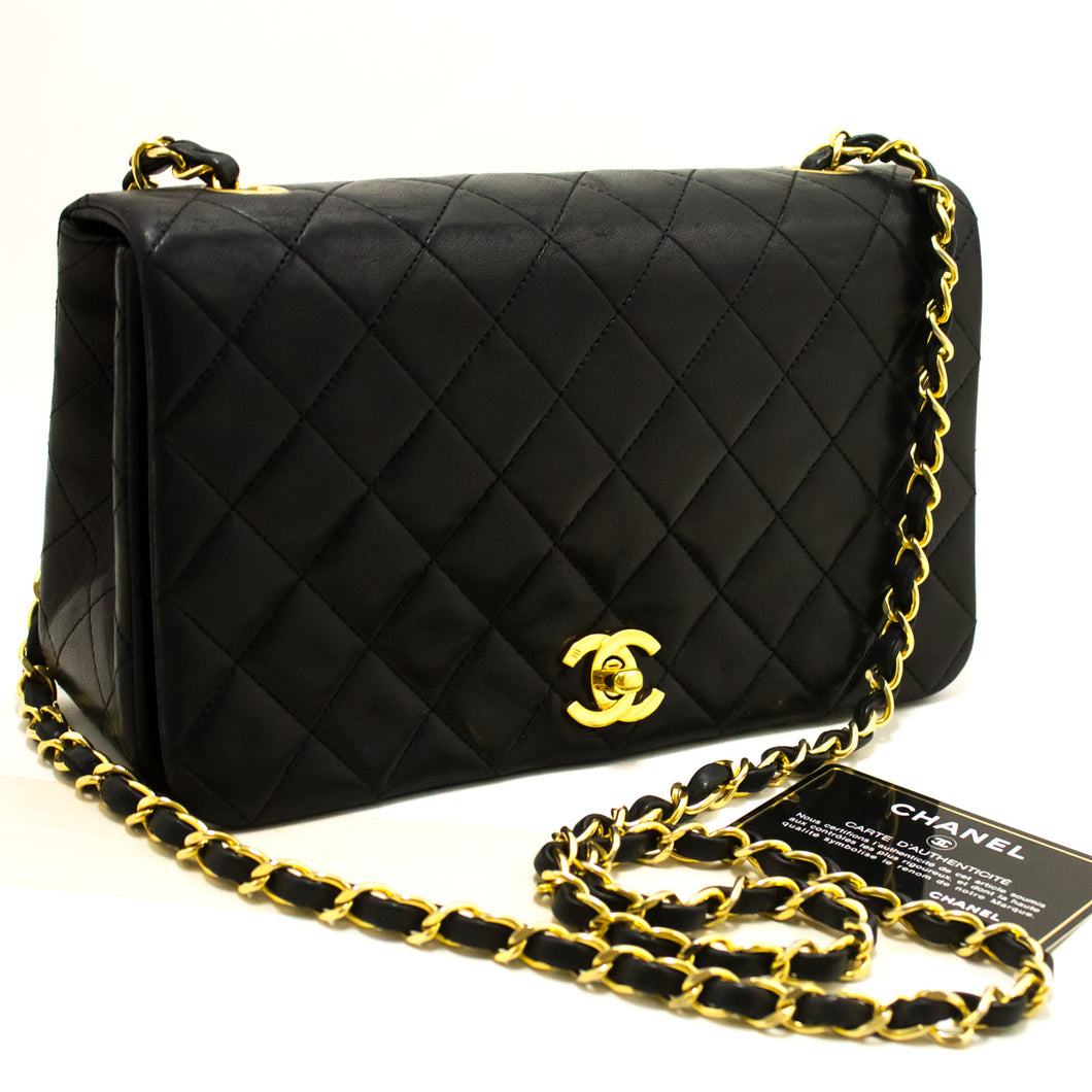 CHANEL Chain Shoulder Bag Crossbody Black Quilted Flap Lambskin p02-Chanel-hannari-shop