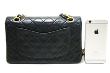 "CHANEL 2.55 Double Flap 9"" Chain Shoulder Bag Black Quilted Lamb R15"