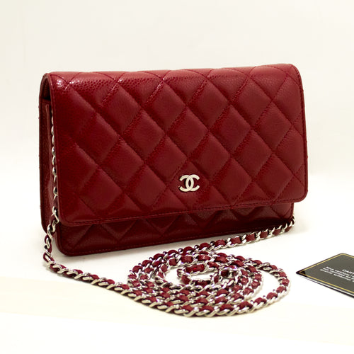 3cce54cc5678 CHANEL Caviar Red Wallet On Chain WOC Shoulder Bag Crossbody Q03-Chanel -hannari-