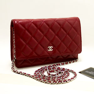 CHANEL Caviar Red Wallet On Chain WOC Shoulder Bag Crossbody Q03-Chanel-hannari-shop