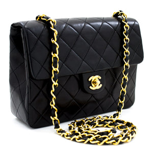 CHANEL Mini Square Small Chain Shoulder Bag Crossbody Black Quilt x63 hannari-shop