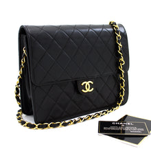 CHANEL Small Chain Shoulder Bag Clutch Black Quilted Flap Lambskin s37