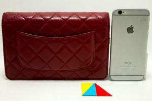 CHANEL Caviar Red Wallet On Chain WOC Shoulder Bag Crossbody Q03