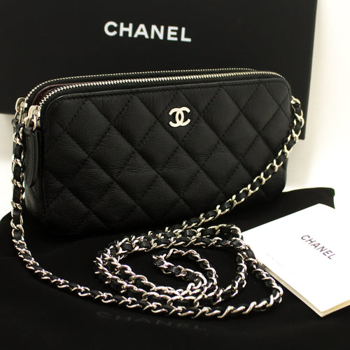 CHANEL Caviar Wallet On Chain WOC W Zip Chain Shoulder Bag Black p20