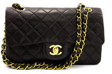 "CHANEL 2.55 Double Flap 9 ""Chain Shoulder Bag Black Lambskin u64 hannari-shop"