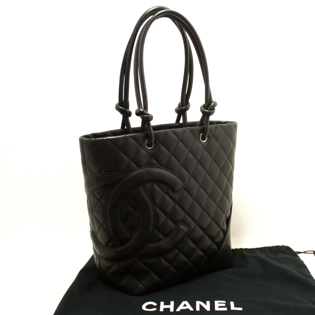 CHANEL Cambon Tote Small Shoulder Bag Black Quilted Calfskin Zip p15