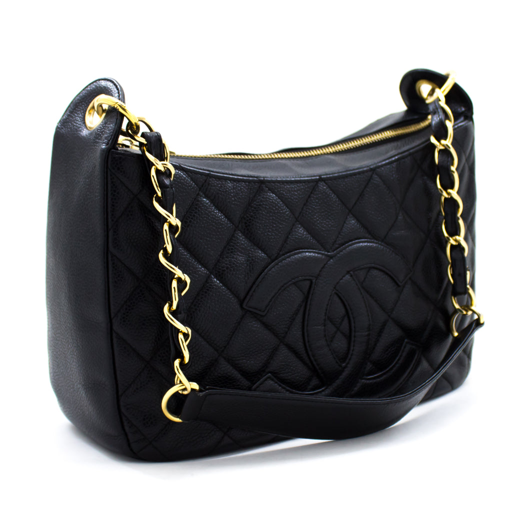 CHANEL Caviar Chain One Shoulder Bag Black Quilted Leather Zipper t86-hannari-shop