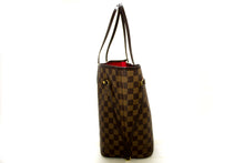 Louis Vuitton Damier Ebene Neverfull MM Shoulder Bag Canvas Tote Q50
