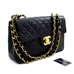 "CHANEL Jumbo 13 ""Maxi 2.55 Flap Chain Caner Bag ጥቁር ላምስኪን x65 ሺንሪ-ሱቅ"