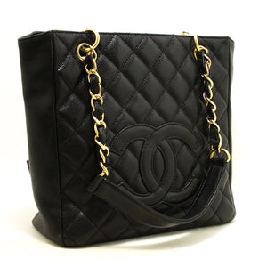 CHANEL Caviar PST Chain Shoulder Bag Shopping Tote Black Quilted Q06