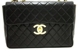 "CHANEL Jumbo 11"" Large Chain Shoulder Bag Flap Black Lambskin p30"