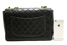 "CHANEL Jumbo 11"" Large Chain Shoulder Bag Flap Black Lambskin p30-Chanel-hannari-shop"