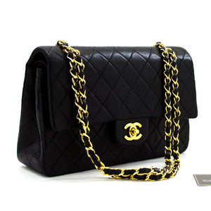 "CHANEL 2.55 Double Flap 10 ""Classic Chain Shoulder Bag Black y22 hannari-shop"