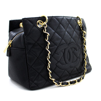 CHANEL Caviar PST Chain Shoulder Bag Shopping Tote Black Quilted u57 hannari-shop
