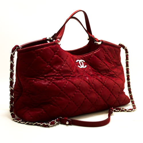 CHANEL Red 2 Way Shoulder Bag Handbag დიდი კალათის ტყავი p13-anel-hannari-shop