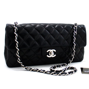 CHANEL Silver Hw Single Flap Chain Shoulder Bag Svart vattert Lam y34 hannari-shop